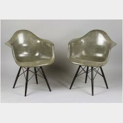 Pair of Charles Eames Molded Shell Chairs
