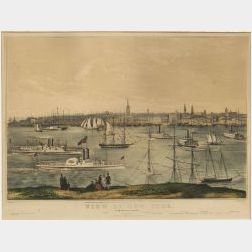 Nathaniel Currier, publisher (American 1813-1888)  View of New York From Brooklyn Heights.