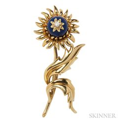 18kt Gold, Lapis, and Diamond Flower Brooch, Schlumberger Studios, Tiffany & Co.