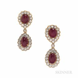 18kt Gold, Ruby, and Diamond Day/Night Earrings