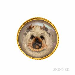 Antique Gold and Reverse-painted Crystal Terrier Brooch