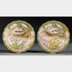 Pair of Cauldon Hand-painted Luncheon Plates