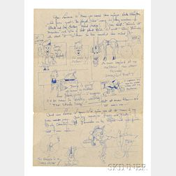Kline, Franz (1910-1962) Autograph Letter Signed with Drawings and Envelope, 18 November 1931.