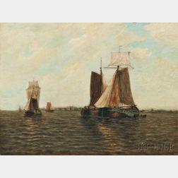 Paul Jean Clays (Belgian, 1819-1900)      Sailing Vessels in a Quiet Harbor