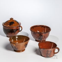 Four Manganese-decorated Redware Household Items