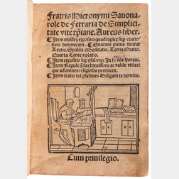 Savonarola, Girolamo (1452-1498) De Simplicitate Vite Christianae.
