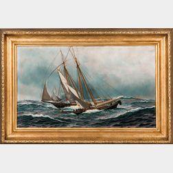 Antonio Nicolo Gasparo Jacobsen (Danish/American, 1850-1921)      Gloucester Fisherman on the Banks