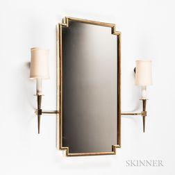 Tommi Parzinger Gilt Mirror with Sconces