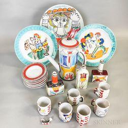 Nineteen Pieces of Italian Polychrome Pottery