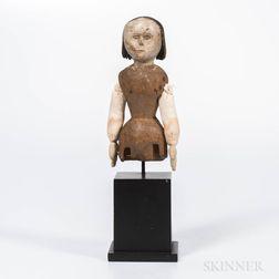 Carved Wood and Cloth Folk Art Doll