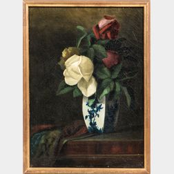 American School, 19th/20th Century      Roses in a Blue and White Porcelain Vase.
