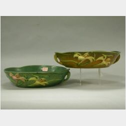 Two Roseville Pottery Zephyr Lily Low Bowls.