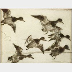 Frank Weston Benson (American, 1862-1951)  Bunch of Bluebills,