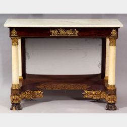 Classical Rosewood, Ormolu, Gilt Gesso, and Marble Pier Table
