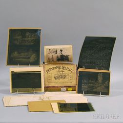 Group of Copied Negatives, Transfers, and Photographic Glass Plates Depicting California, San Francisco, the Gold Rush, and Related Fig