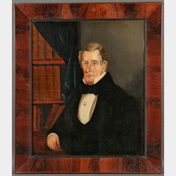 American School, 19th Century      Portrait of a Doctor Seated in His Library.