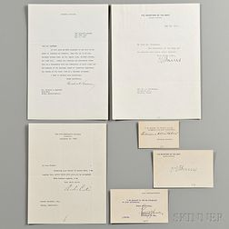 Hoover, Herbert (1874-1964) Three Signed Presidential Items and Other Material Signed by Presidential Cabinet Members.