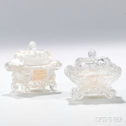Two Pressed Glass Open Salts with Lids