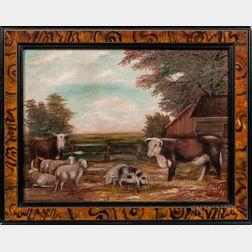 American School, 19th Century      Barnyard Scene