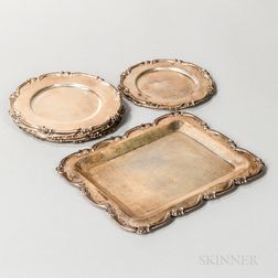 Nine Pieces of Peruvian Sterling Silver Tableware