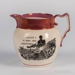 Pink Lustre Decorated Anti-Slavery Jug