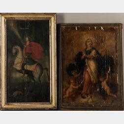 Two 19th/20th Century Religious Panel Paintings:      Double-sided Panel of Two Christian Orthodox Saints