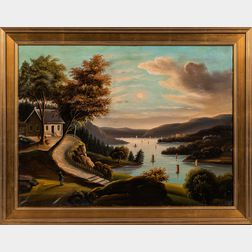 Possibly Thomas Chambers (New York/England, 1808-1869)      Landscape with a House Overlooking a Wide River