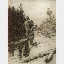 Frank Weston Benson (American, 1862-1951)  River Drifters,