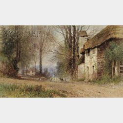 Albert Fitch Bellows (American, 1829-1883)      Pastoral View, Village Lane with Shepherd and Flock