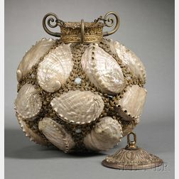 Mother-of-pearl and Gilt-metal Light Fixture