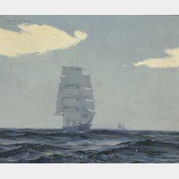 Gordon Hope Grant (American, 1875-1962)      Three Masted Ships on the High Seas