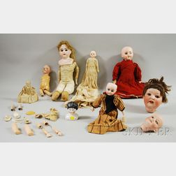 Nine Bisque and China Dolls and Heads