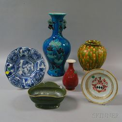 Four Chinese and Japanese Glazed Ceramic and Porcelain Vases and Vessels