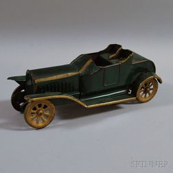 Vintage D.P. Clark Green-painted Pressed Steel Open Touring Car