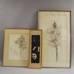 Three Framed Works:       Japanese School, 20th Century, Girl with Owl