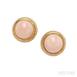 Pair of 18kt Gold and Angelskin Coral Earrings