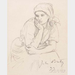 Jules Adolphe Aimé Louis Breton (French, 1827-1906)      Young Woman at Rest