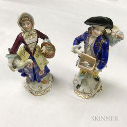 Pair of Chelsea-type Porcelain Figures