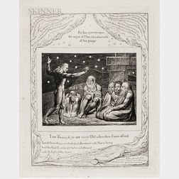 William Blake (British, 1757-1827) Four Plates from Illustrations of the Book of Job: And Smote Job with Sore Boils, And When They Lift