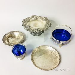Four Pieces of Sterling Silver Tableware and a Silver-plated Footed Dish
