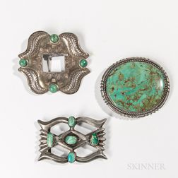 Three Navajo Silver and Turquoise Belt Buckles