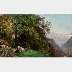 John Joseph Enneking (American, 1841-1916)      Landscape in the Alps
