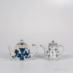 Two Dutch Delft Teapots and Covers