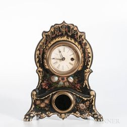 Iron-front and Mother-of-pearl Mantel Clock
