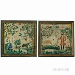 Pair of Shepherd and Shepherdess Needlework Pictures