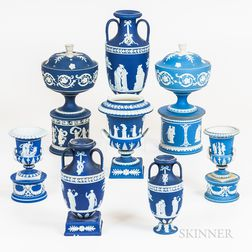Eight Wedgwood Blue Jasper Items