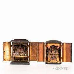 Two Portable Lacquered Shrines, Zushi