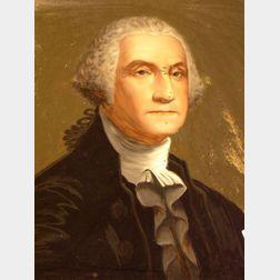 Framed Reverse Painting on Glass Portrait of George Washington.