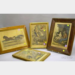 Four Framed 19th Century Hand-colored Lithographs