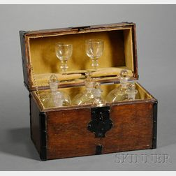 Ship's Cased Decanter Set with Two Drinking Glasses